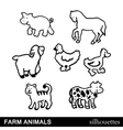 Farm Animals Silhouettes Isolated on White vector image vector image