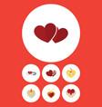 flat icon heart set of shaped box celebration vector image vector image