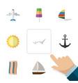 flat icon summer set of sundae ship hook yacht vector image vector image