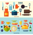 Flat kitchen and cooking background C vector image