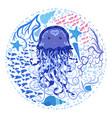 funny jellyfish hand-drawn among seashells algae vector image vector image
