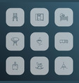 furniture icons line style set with dining chair vector image vector image
