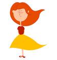 girl in yellow skirt on white background vector image