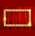 golden frame on the background of the curtain vector image vector image