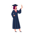 graduated student with education certificate vector image vector image