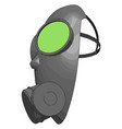 grey gas mask with green detailes on white vector image