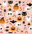 halloween scary cute cartoon pattern vector image