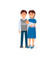 happy husband and wife embracing their newborn vector image vector image