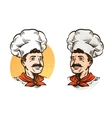 Happy mustached chef in hat vector image vector image
