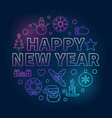 happy new year round colorful concept vector image