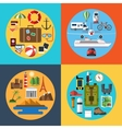 Icons set of traveling tourism hiking vector image vector image