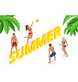isometric summer beach volleyball concept group vector image