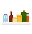 kitchen jars a bottle oil a grater a bottle of vector image