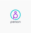 letter p for person logo icon template vector image vector image