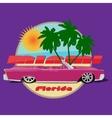 Miami florida car cadillac cabriolet print vector image vector image