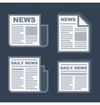 Newspaper Icons Set on Dark Background