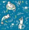ocean aqua magical purrmaid diving cats cartoon vector image vector image