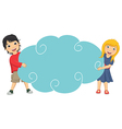 Of Cute Children Holding Cloud vector image