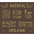 Raw vegan food calligraphy vector image vector image