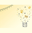 realistic gold birthday party objects collection vector image vector image