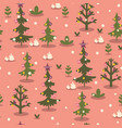 seamless pattern with christmas trees on a pink vector image