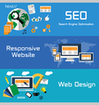 SEO responsive website and web design flat banners vector image