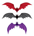 set of bat with big wings in color in flat style vector image vector image