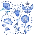 Set of blue floral elements for design in the vector image