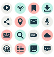 social icons set with search letter people and vector image vector image