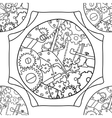 Steampunk black and white doodle seamless pattern vector image vector image