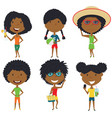 summer african-american female characters vector image vector image
