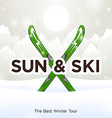 Sun Ski and sun snow background vector image vector image
