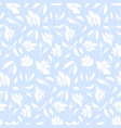 tender blue pattern with white roses silhouettes vector image