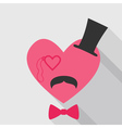 Valentines Day Card - with Heart Face Mustache vector image vector image