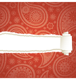 Red torn paisley paper vector image