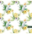 10 white parrot hibiscus tropical palm trees vector image