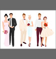 Elegant wedding couples bride and groom set vector image