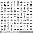 100 travel time icons set simple style vector image