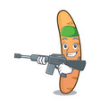 army baguette character cartoon style vector image