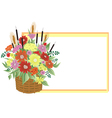Basket of abstract flowers with frame vector image vector image