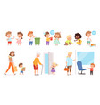 behaving kids children with good manners helping vector image vector image