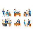 boss interviewing woman worker candidate on job vector image