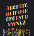 cartoon boho colorful alphabet vector image vector image