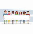 cheerful diverse characters with white banner vector image