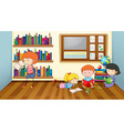 Children reading books in classroom vector image vector image