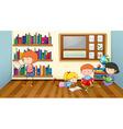 Children reading books in classroom vector image