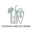 cocktail and ice cream line icon linear vector image