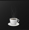 coffee cup with steam realistic mug and saucer vector image vector image