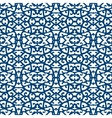 Elegant lace pattern with blue lines on white vector image