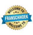 franschhoek 3d gold badge with blue ribbon vector image vector image